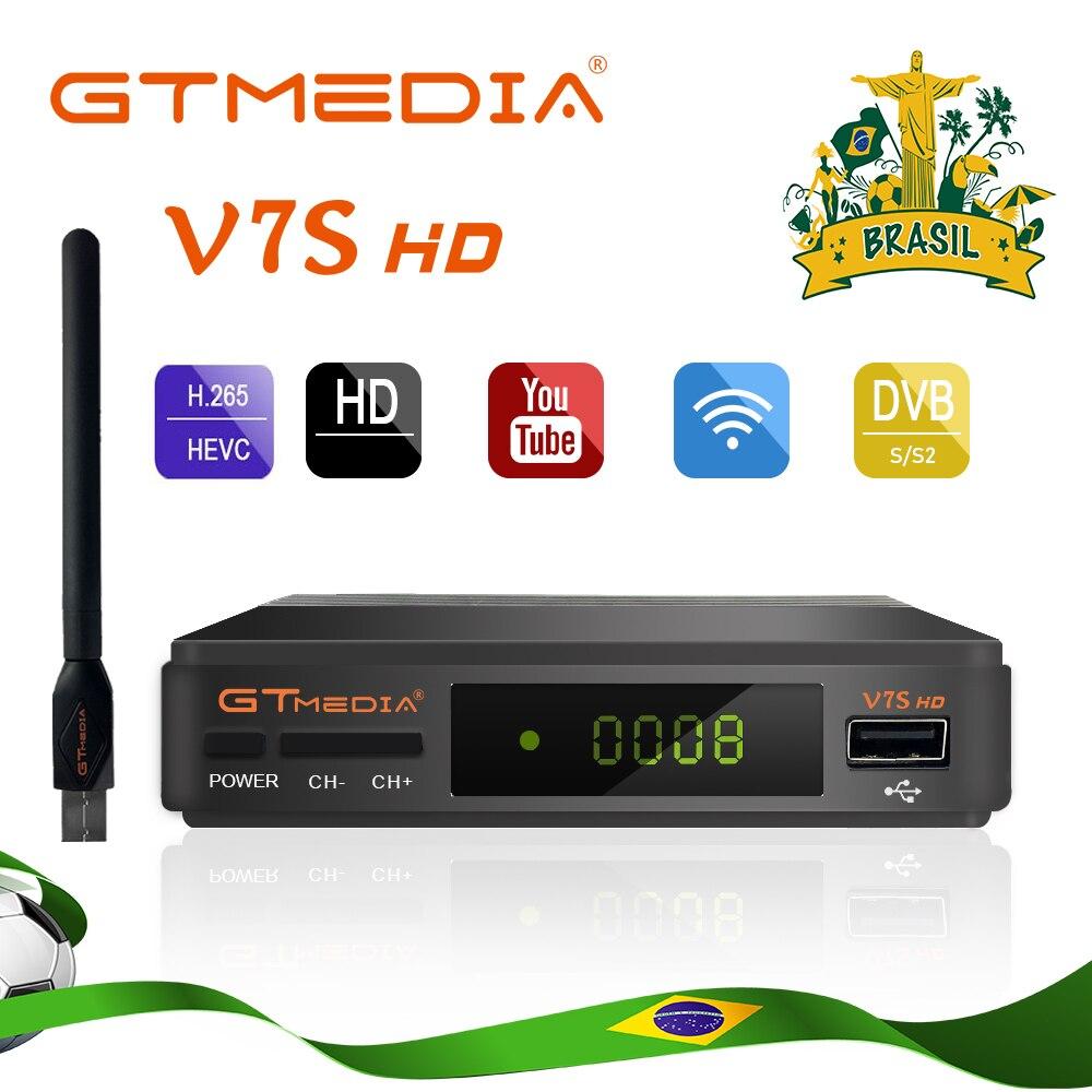Original gtmedia v7s hd receptor de tv por satélite completo 1080p hd wifi DVB-S2 suporte 1 ano