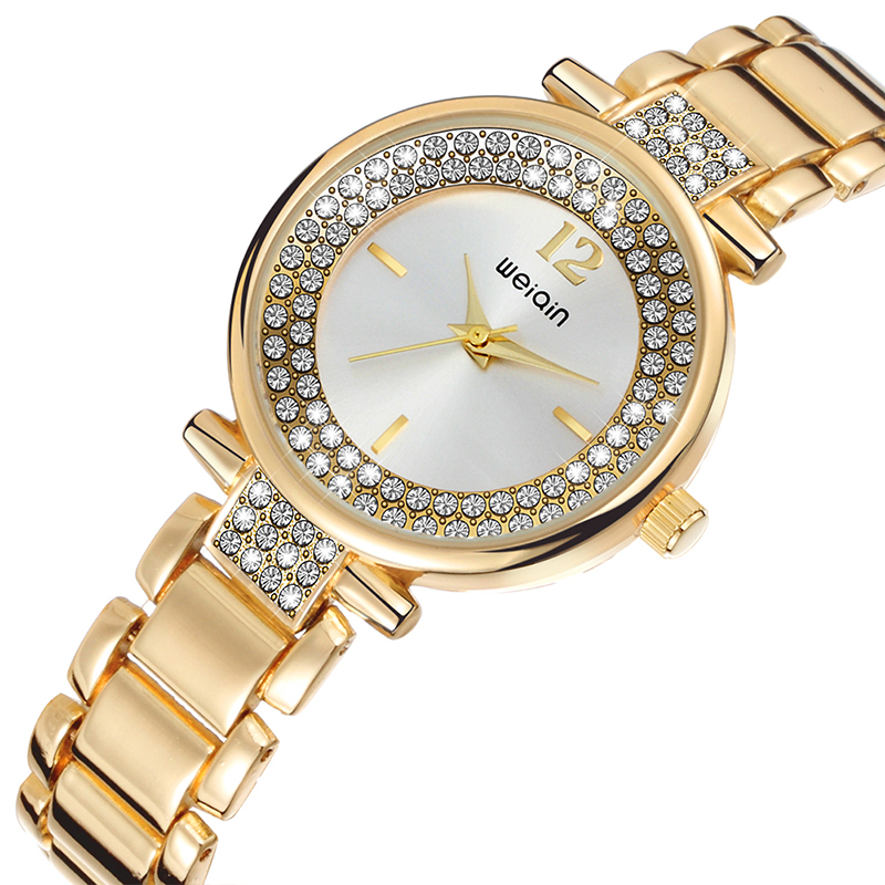 New Arrival Rose Gold Silver Rhinestone Watches Women Luxury Brand Fashion Steel Quartz Watch Lady Waterproof Crystal Wristwatch