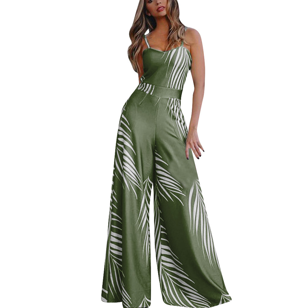 Spaghetti Straps Tropical Leaf Printed Jumpsuit Women Summer Casual Short Sleeve Sparkly Loose Rompers Playsuit Wide Leg Pants
