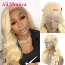 Perruque Lace Frontal Wig 613 naturelle brésilienne, cheveux ondulés, blond miel, 13x4, pour femmes africaines