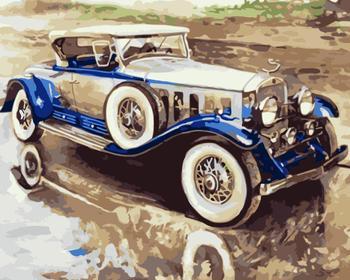 Coche de época. Pintura hecha a mano, lienzo de alta calidad, pintura bonita por números, regalo sorpresa, gran éxito