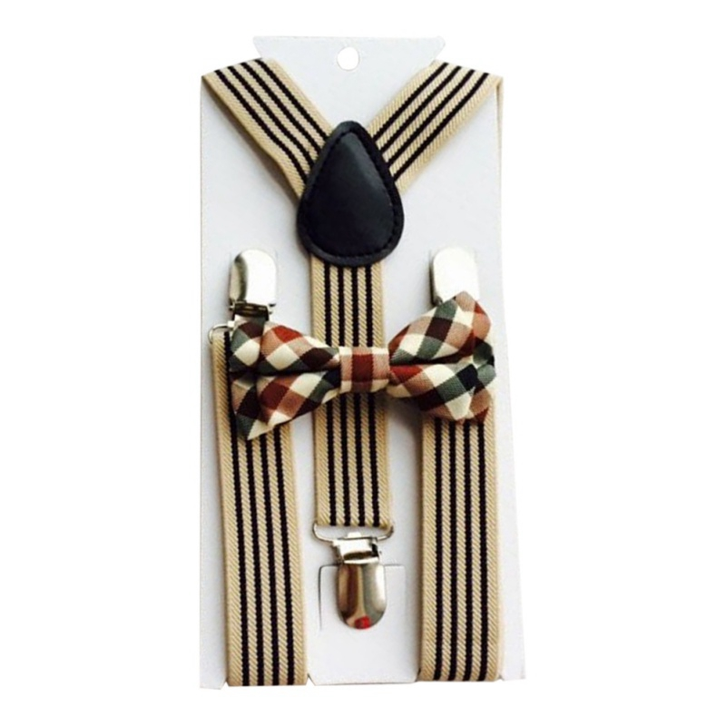 2pcs Casual Fashion British Style Children's Adjustable Braces Elastic Band And Students Rainbow Striped Bow Tie Kit