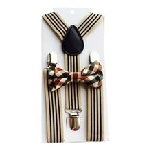 Регулируемые подтяжки 2шт повседневная мода британский стиль дети в резинке и студентов Радуга полосатый галстук-бабочку комплект