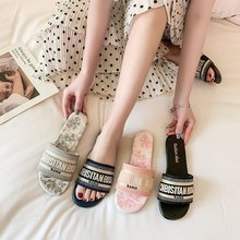 Akexiya Femmes pantoufles d'été Vacances décontracté mode tout-match plat anti-dérapant Européen Américain paresseux sandales maison chaussures pour femmes