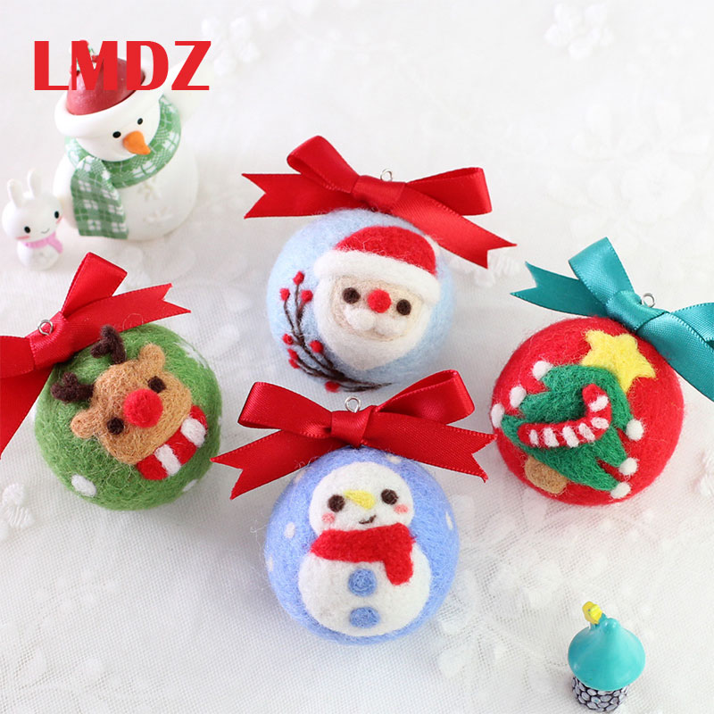 LMDZ 1Pcs Wool Felt Animal Handmade Diy Wool Felt Material Bag Christmas Keychain Felting Crafts No-Finished Needle Felting Kit