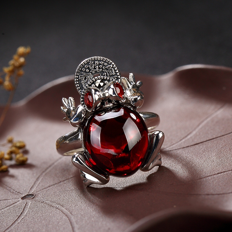 Amxiu Vingtage Open Ring Red Garnet 925 Sterling Silver Ring Animal Toad Frog Rings For Women Party Jewelry Finger Accessories