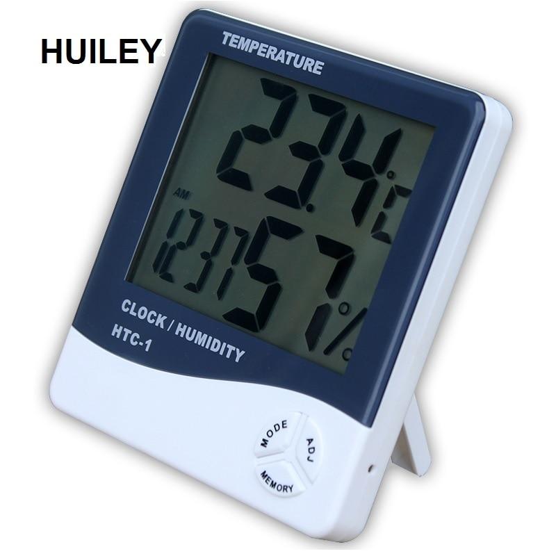 Termómetro interior Higrômetro Eletrônico Digital LCD C/F Temperatura Umidade Medidor Alarm Clock Estação Meteorológica Quarto Casa