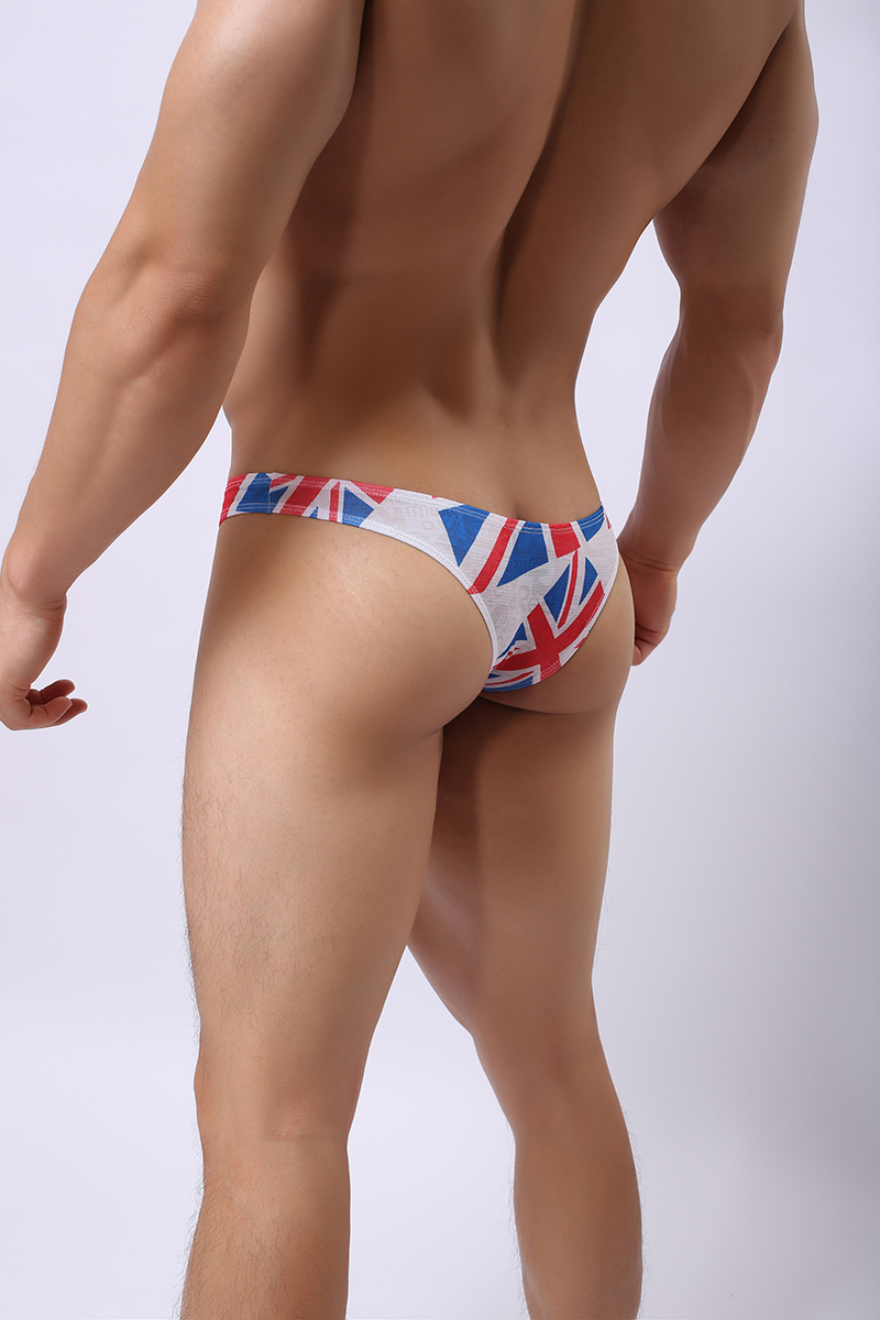 Fashion Sexy Men Flag Printing Briefs Underwear Comfortable Mesh Breathable Bulge Man Male Underpants