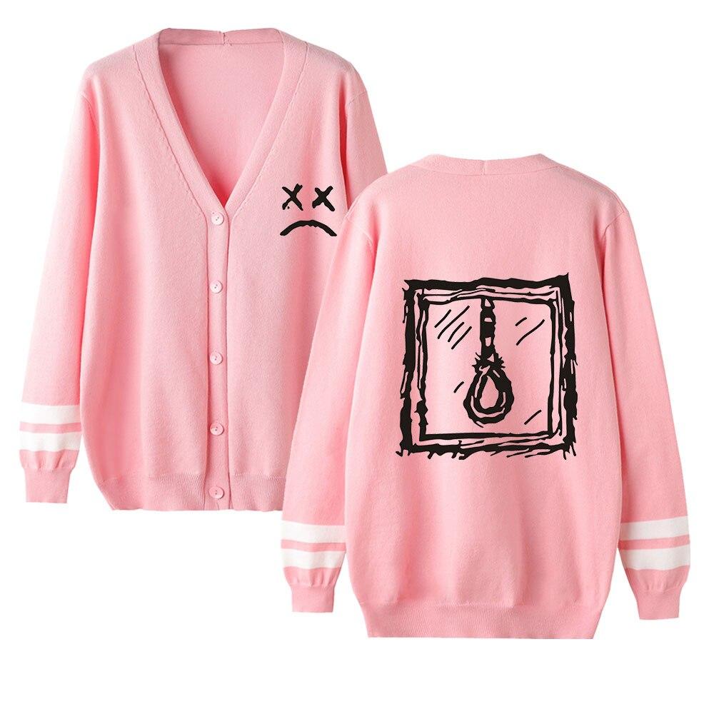 Lil Peep Cardigan Sweater Women Aikooki New Fashion Casual Harajuku Sweater Lil Peep Popular V-neck Pink Sweater Casual Top