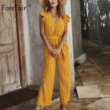 Forefair Streep Jumpsuit Vrouwen Sexy Rompertjes Zomer Strand Casual Boho Ruffle Hoge Taille Fashion 2020 Vrouwen Jumpsuit(China)
