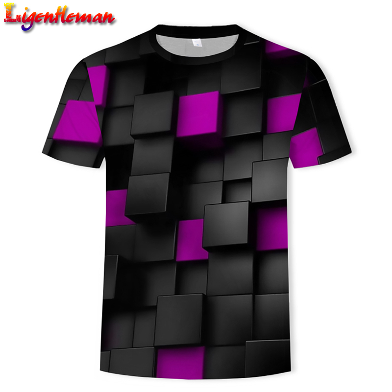 Colorful 2019 Printing Men's T-shirt Funny T-shirt Illusion Black And White Graphics O-neck Pullover Men/Women 3D T-shirt Hombre