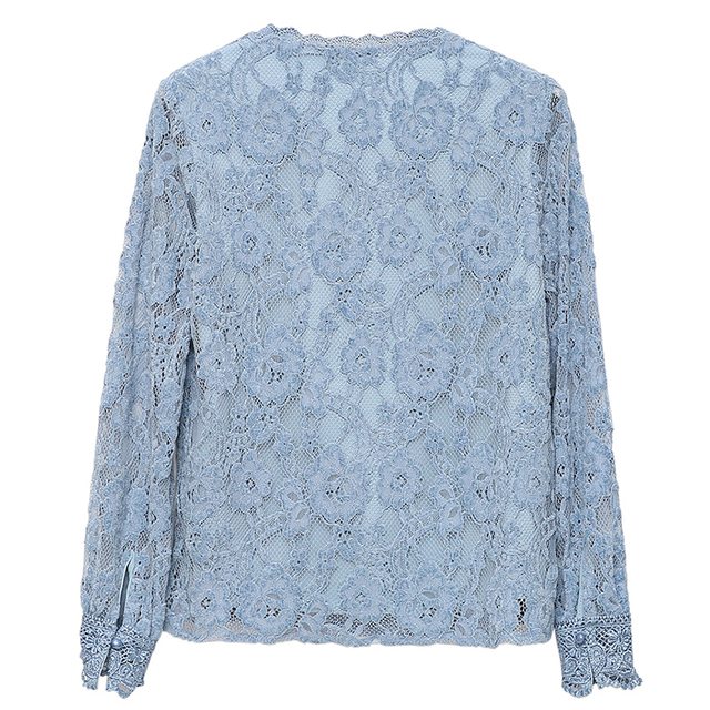 Autumn Fashion Vintage Blouse Women 2021 New Long Sleeve Floral Lace Womens Blouse Office Lady Casual Shirt For Women Tops 11303 6