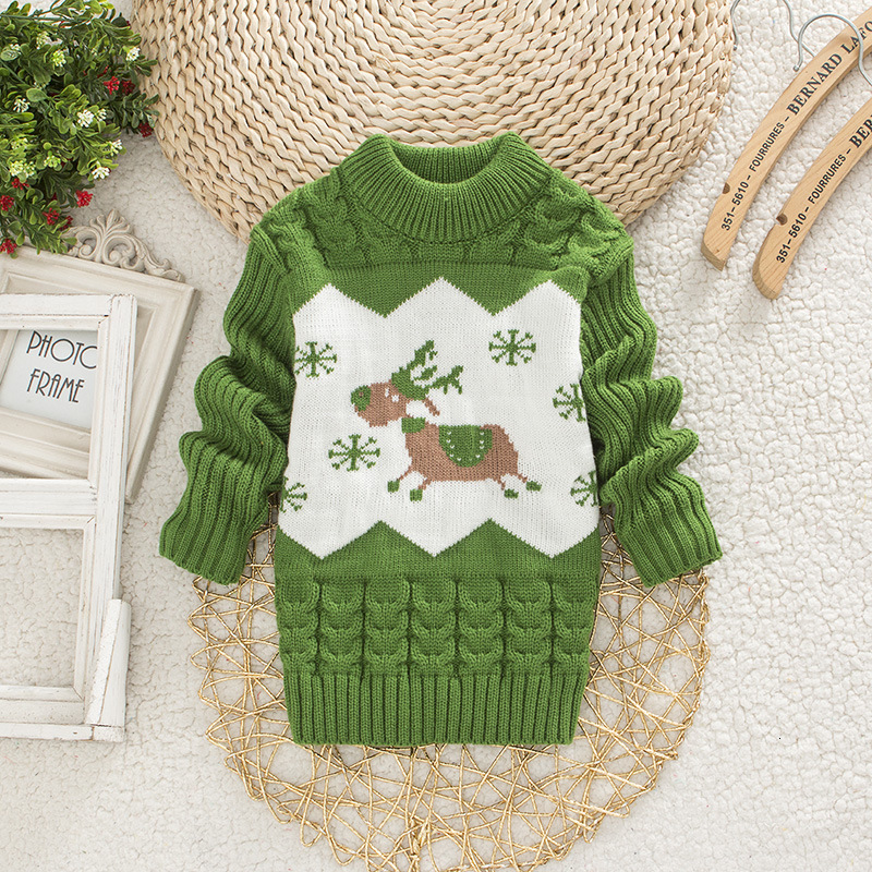 Children Christmas Sweater Girl Round Neck Sweaters Boy Little Deer Clothes 1-4 Years Baby Autumn Clothing Kids Warm Tops 4