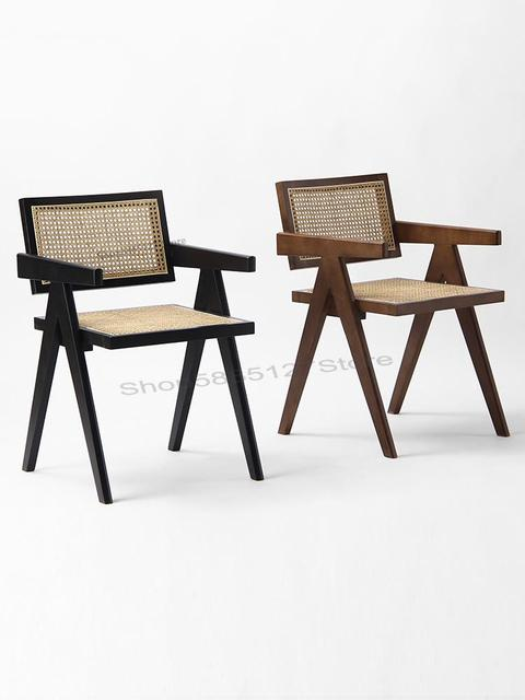 Solid Wood Dining Chair Rattan Nordic Chair  3