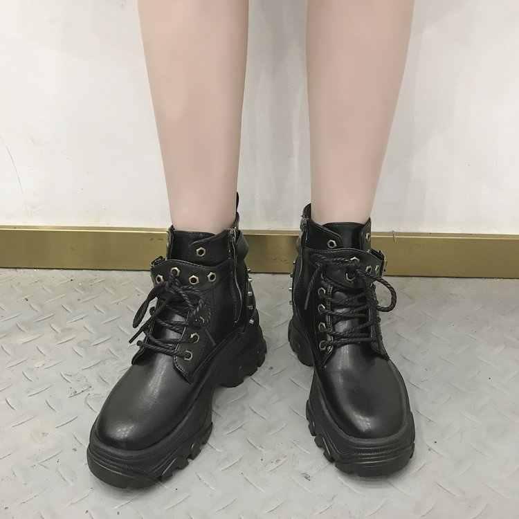 Yeni Sonbahar Ayakkabı Kadın Sokak Çizmeler Kadın Kış Motosiklet yarım çizmeler Kadın Pu Deri Bota Kadın Tıknaz Botas Mujer