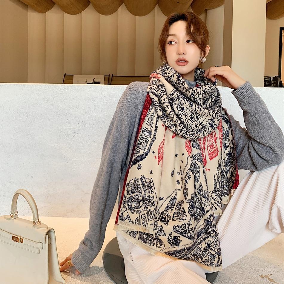 Купить новинка зимы 2020 утолщенный теплый шарф из искусственного кашемира
