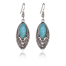 New Hot Women Dangle Earring Retro Simple Hollowed Carved Ethnic Style Earrings of Turquoises Features Texture Stone