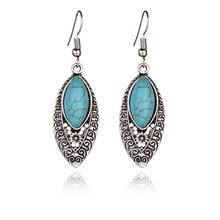 купить New Hot Women Dangle Earring Retro Simple Hollowed Carved Ethnic Style Earrings of Turquoises Features Texture Stone Earrings по цене 93.14 рублей