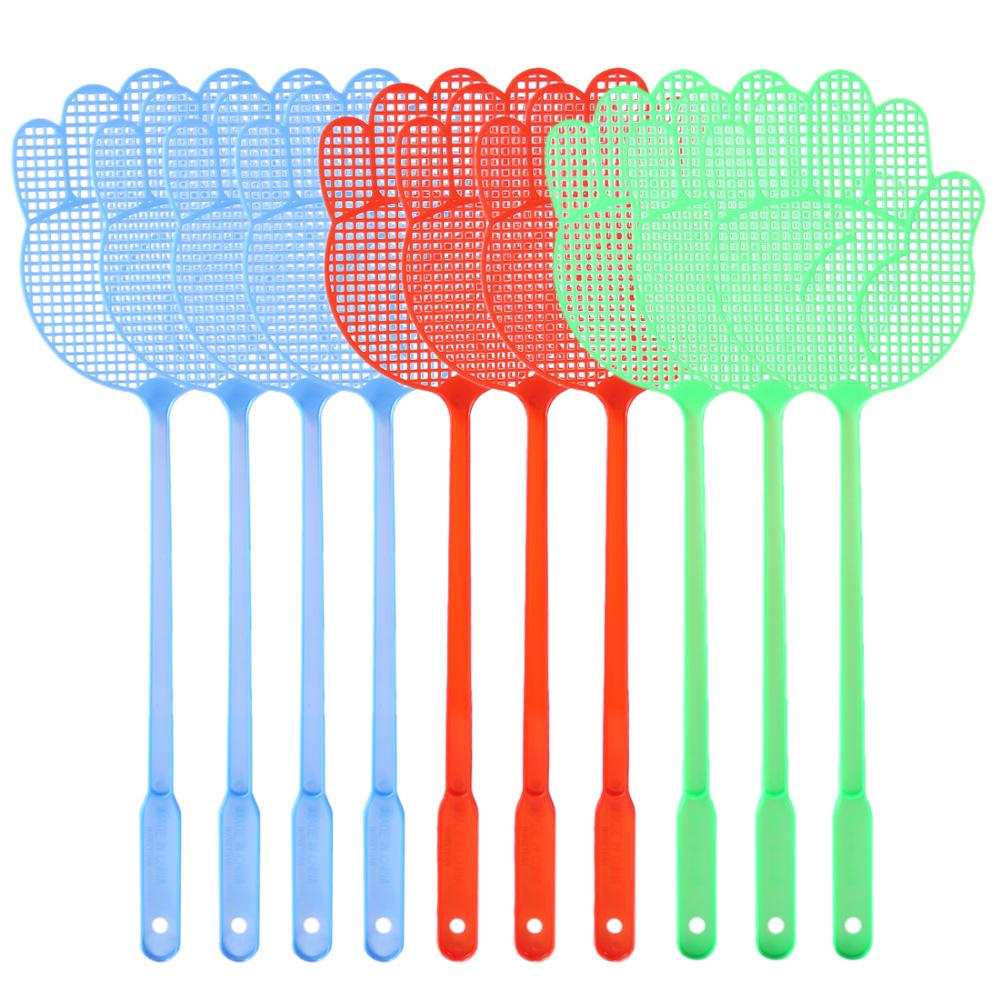 Hot 20Pcs Cute Palm Pattern Plastic Fly Swatter Lightweight Household Flapper Mosquito Bug Zapper Pest Control Color Random