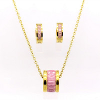 BAG93 21 Stainless Steel Jewelry Set Pink Crystal Rhinestone Gold Earring Studs Pendant Necklace Fashion Gift Women