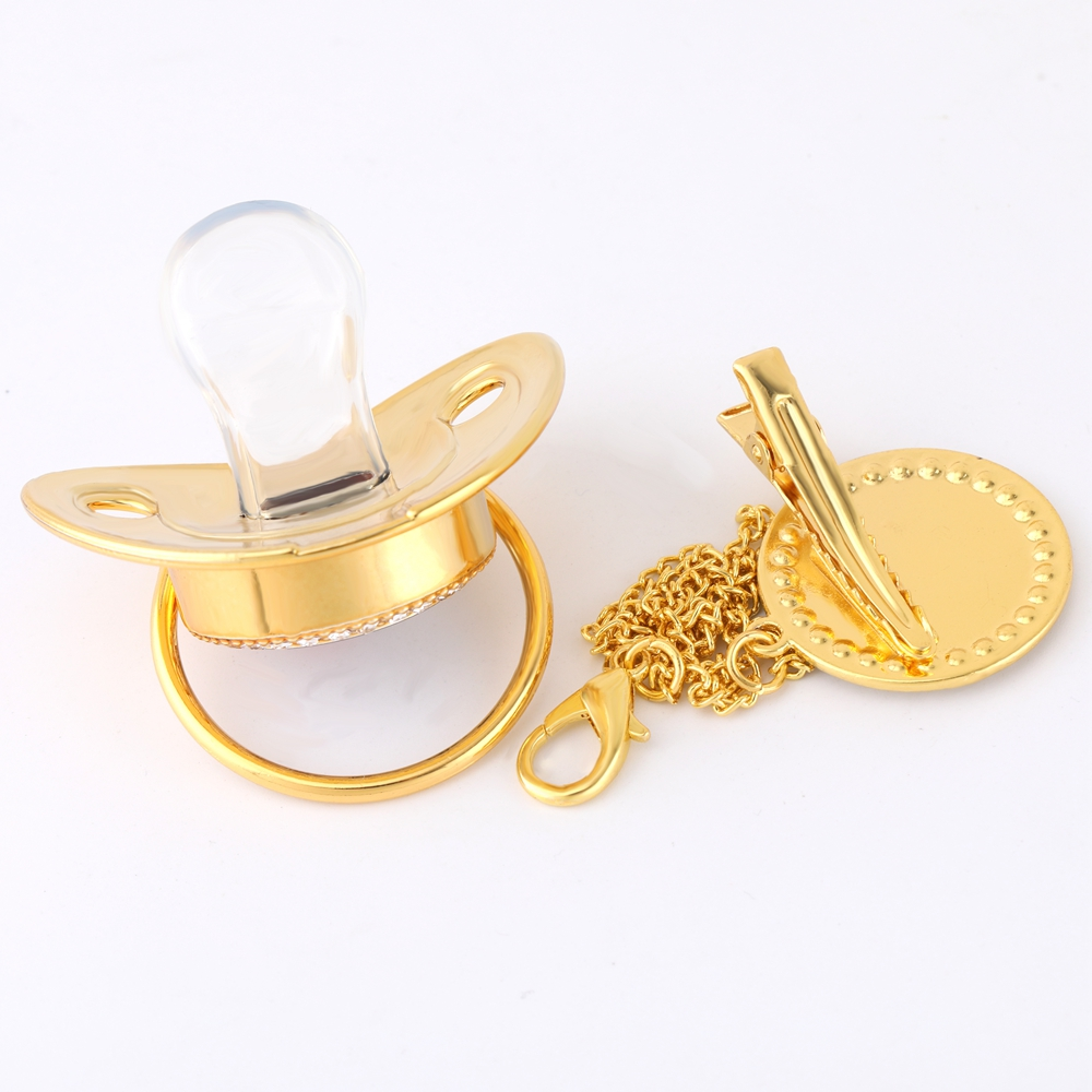 26 Name Initial Letter Baby Pacifier and Pacifier Clips BPA Free Silicone Infant Nipple Gold Bling Newborn Dummy Soother 2