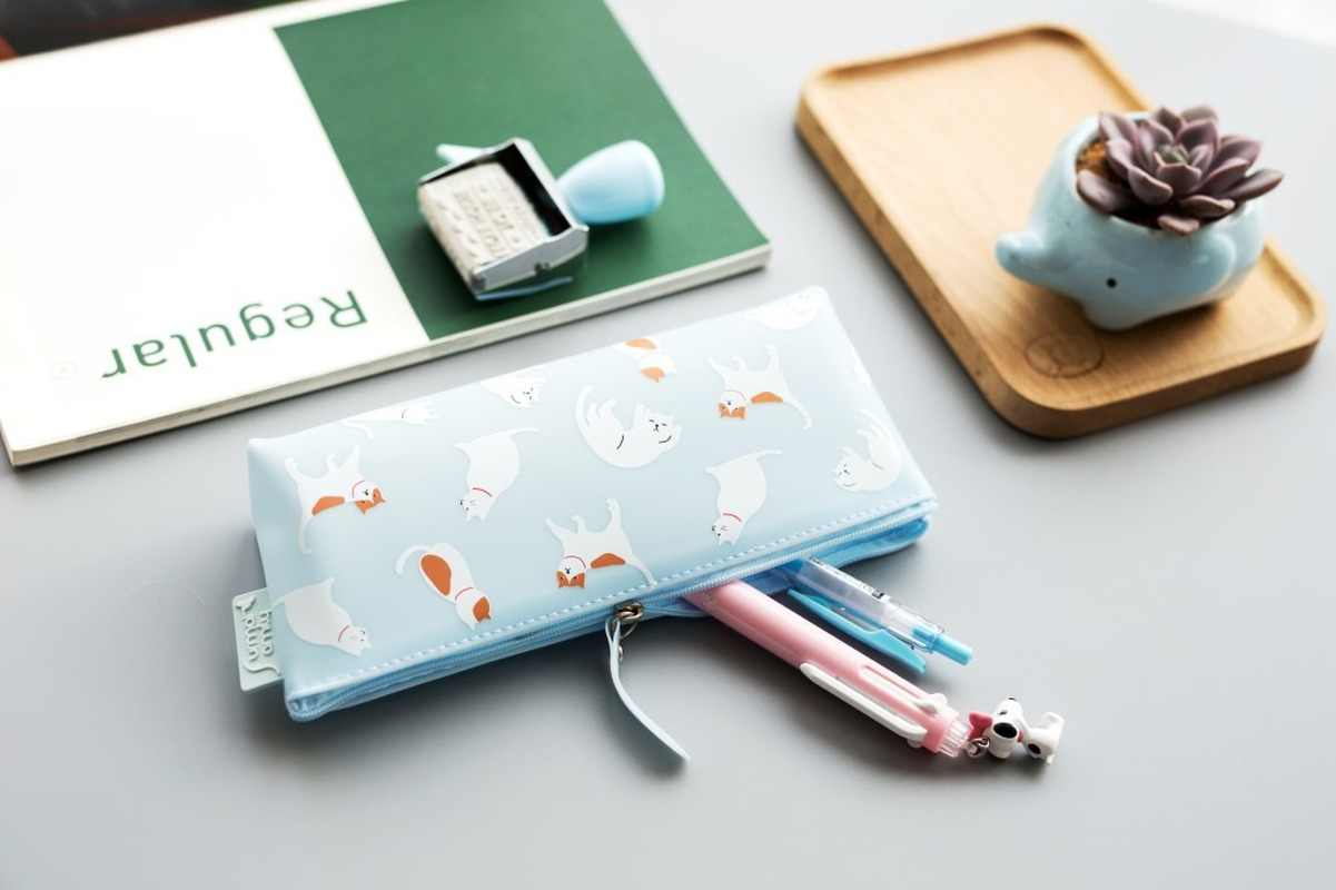 1pcs Jelly Cat ซิลิโคนดินสอดินสอกระเป๋าทนทานขนาดใหญ่เครื่องเขียนปากกา