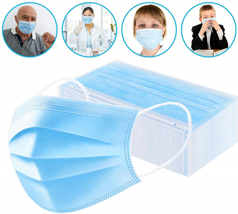100pieces Masks Protection Unisex Masque Disposable Non woven  Masks Three layer Filter Anti dust Nose Mouth Face MasksWomens Masks