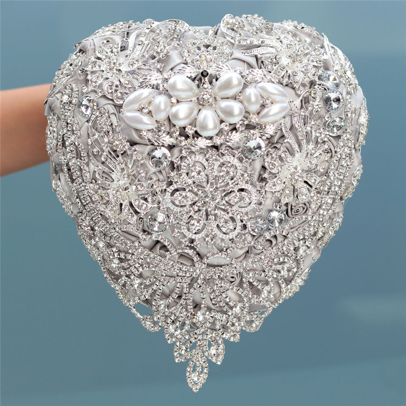 18cm Silver Luxury Rhinestone Full Diamond Bridal Bouquets Heart Shaped Wedding Bouquet Artificial Flower Wedding Flowers W520