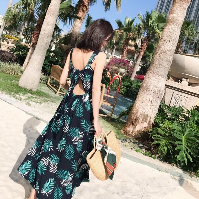 Photo Shoot 2018 Holiday Backless Camisole Beach Skirt Bohemian Back Lace-up Long Skirts Thailand Dress