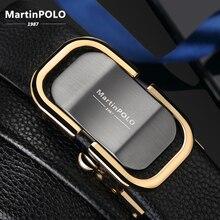 MartinPOLO yeni varış erkek deri kemer lüks otomatik tokalı kemerler erkekler için siyah erkekler kemer hakiki deri MP0301P