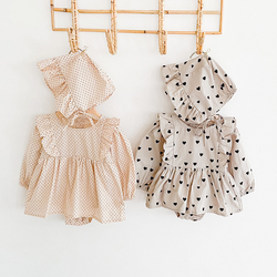 Melario Baby Girl Clothes Newborn Girls Romper Jumpsuit With Hat Long Sleeve Cute Polka Dot Playsuit for Newborn Kids