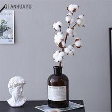 Rama Floral de flores y plantas artificiales de algodón, secado natural, para decoración para fiesta de boda, bricolaje, flores falsas, decoración del hogar