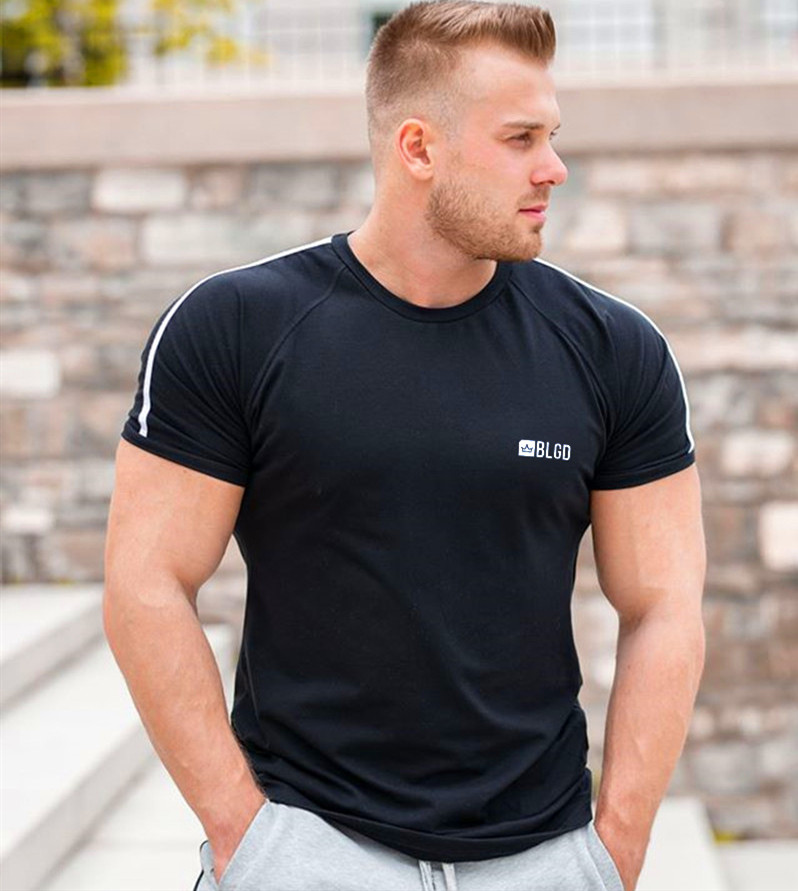 2020 NEW Gyms Cotton T-shirt Men Running Sport  T-shirt Skinny Tee Shirt Male Fitness Bodybuilding Workout Black Tops Clothing