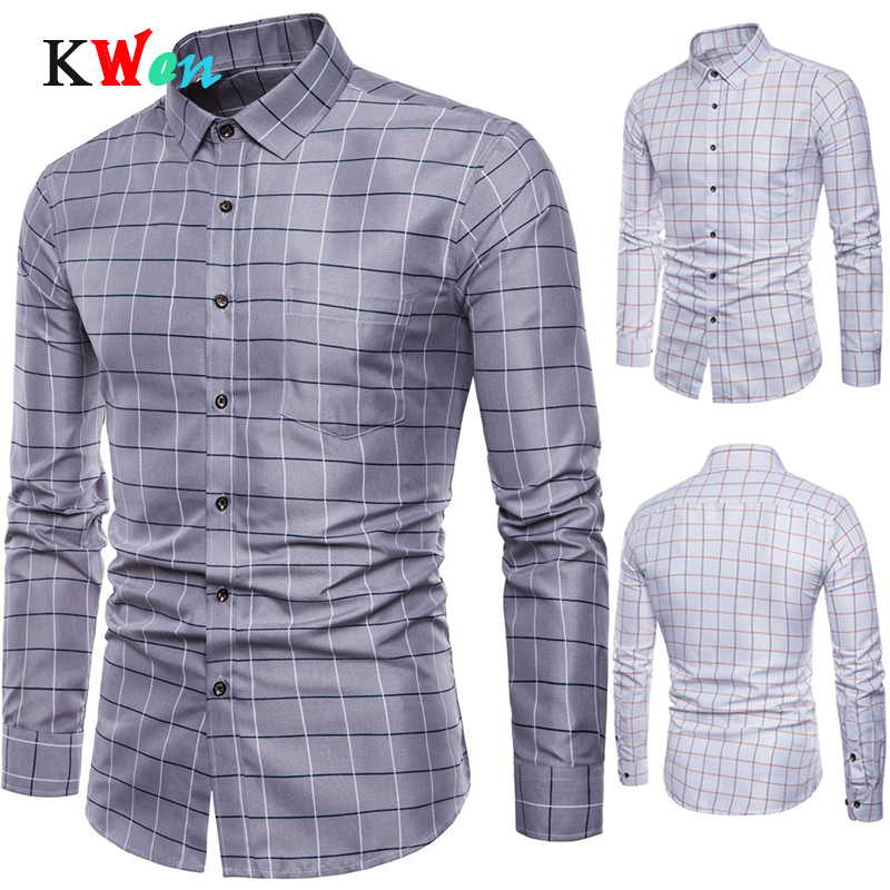 Brand Long Sleeve Shirt Of Mens Long Sleeve Oxford Formal Casual Plaid Slim Fit Dress Shirts Top Male Shirt Chemise Homme M-5XL