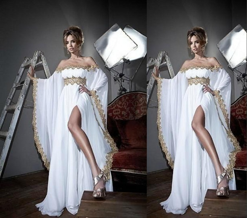Strapless Evening Gown Arabic Abaya Kaftan With Long Sleeves Lace Applique Chiffon Prom Vestido Mother Of The Bride Dresses