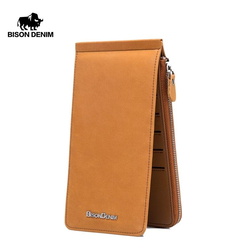 BISON DENIM Wallets Genuine Leather Card Holder Wallet Men Cowhide Weaving Zipper Coin Purse for Men Women carteira  N9301Wallets   -