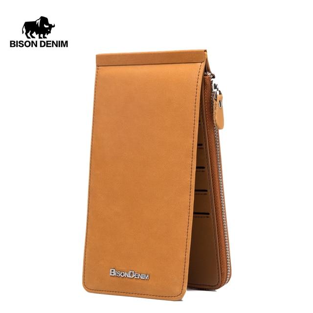 BISON DENIM Wallets Genuine Leather Card Holder Wallet Men Cowhide Weaving Zipper Coin Purse for Men Women carteira  N9301