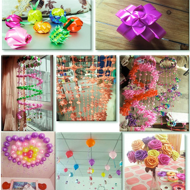 High quality 1roll1cm-3.2cm Paper ribbon wind chime can be tied with  balloon torn open plastic ribbons for crafts can be rolled