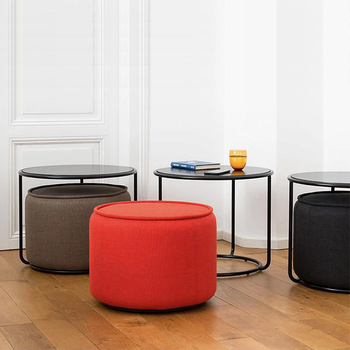 Creative Iron coffee table stool set sofa side table round small apartment corner table simple modern living room furniture stainless steel sofa side table corner table tempered glass small apartment living room round coffee table end table
