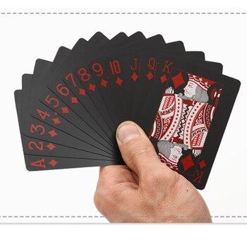 Juego de cartas negras a prueba de agua de plástico negro Color Rojo Tarjeta de póker trucos de magia clásicos herramienta de póker juegos de póker regalo póker
