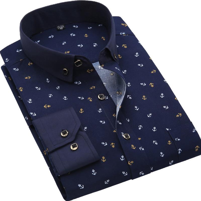 Men Shirt Long Sleeve Floral Printing Plaid Fashion Pocket Casual Shirts 100% Polyester Soft Comfortable Men Dress Shirt DS375 21