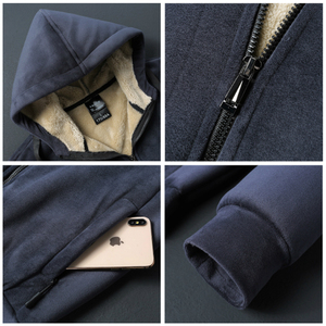 Image 4 - 2019 Winter New Soft Velvet Mens Hooded Fleece Warm Jackets Thicken Casual Thermal Coat Big Size 4XL 5XL