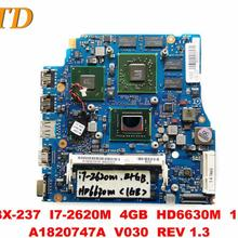 Placa base Original para portátil SONY MBX-237, MBX-237, 4GB, HD6630M, 1GB, A1820747A, V030, REV 1,3