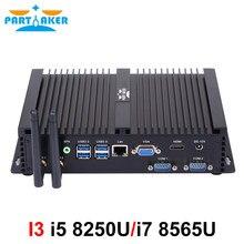 Mini pc industrial Core i7 8550U i7 8565U 2 RS232 COM i5 8250U intel NUC Lan HDMI VGA Quad Core 8th gen sin ventilador