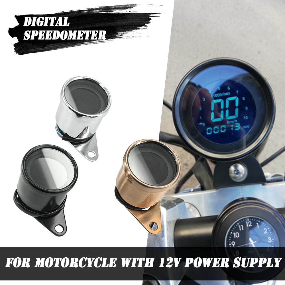 Motorcycle Speedometer Retro LCD Odometer Cafe Racer Tachometer indicator Scooter ATV Meter Universal Motorcycle Digital 12V