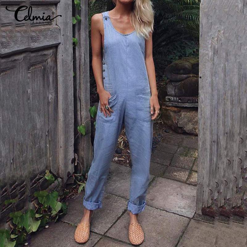 Celmia Women Vintage Solid Sleeveless Rompers Fashion Summer Buttons Long Jumpsuits Casual Loose Playsuits Plus Size Overalls