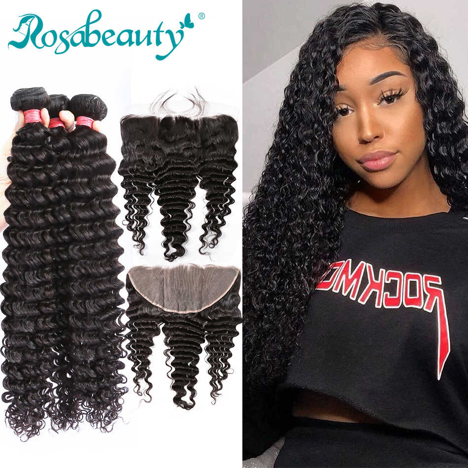 Rosabeauty Deep Wave Bundles With Lace Frontal Brazilian Human Hair Curly Bundles With Closure 8 to 30 inch Natural Color Wavy