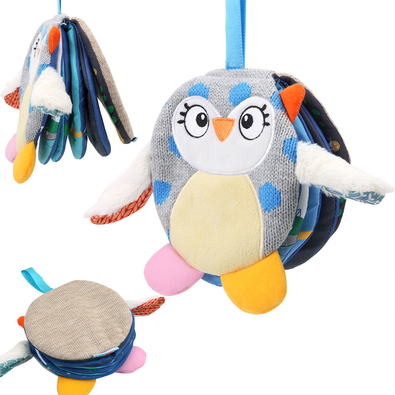 Animals Owl Soft Cloth Fun Book Baby Intelligence Development BB Sounds Learn Picture Cognize Quiet Book Rattle Baby Toy DS9