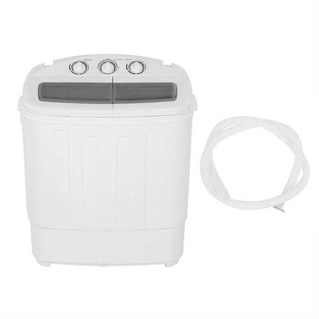 220V 11lb Automatic Washing Machine 2 in 1 Twin Tub Rotating Turbines Washer Laundry Clothes Cleaner with Spin Dryer Bucket
