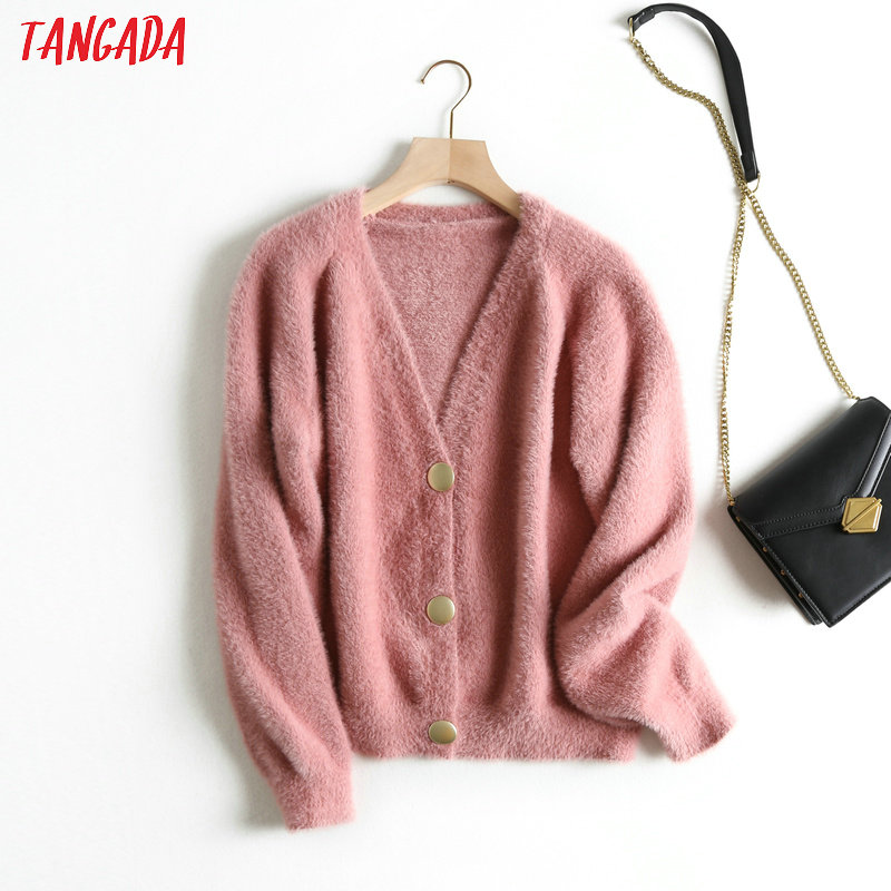 Tangada Women Elegant White Teddy Cardigan Sweater Long Sleeve Buttons Office Lady Soft Knit Sweaters Tops BC22